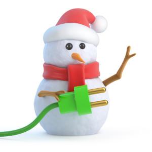 Santa snowman plugs into green energy