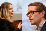 Lars Hjälmered (M) och Jennie Nilsson (S)