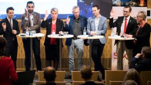Camilla Brodin (KD), Birger Lahti (V), Rickard Nordin (C), Mattias Bäckström-Johansson (SD) och Monica Haider (S).